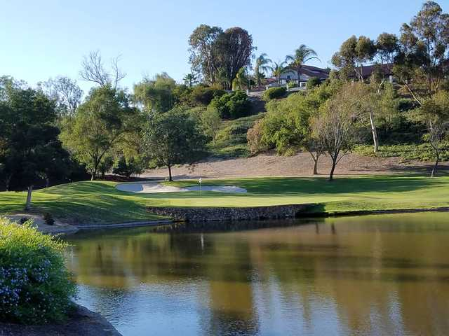 A view over the water of a green at Bernardo Heights Country Club.