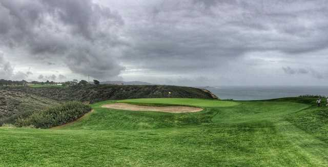 The famous par-3 3rd hole at Torrey Pines South has an infinity backdrop.