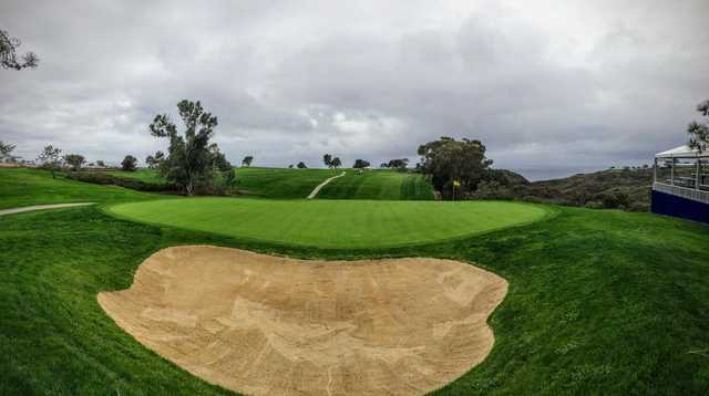 Looking back from a green at South at Torrey Pines Municipal Golf Course