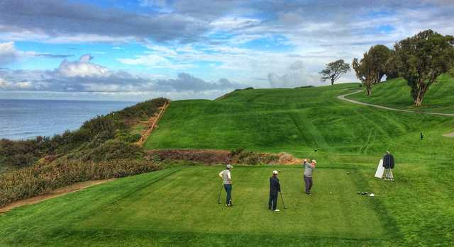 The most thrilling tee shot at Torrey Pines North is at the par-4 16th, which plays uphill and hugs the coastline.
