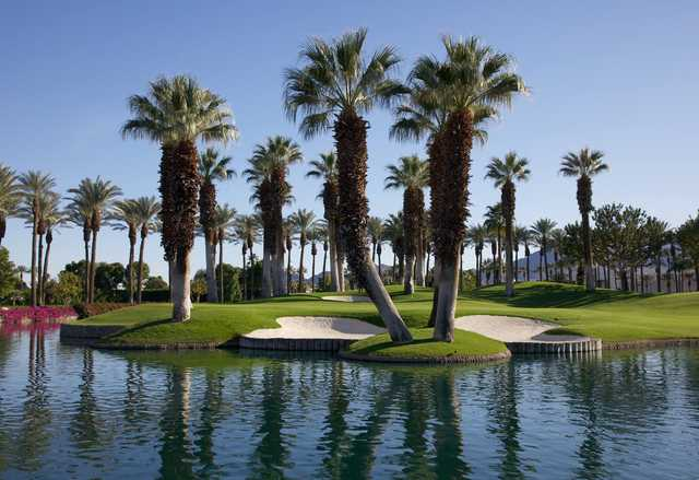 A view of a green with water and bunkers coming into play from Valley at Marriott's Desert Springs Resort.