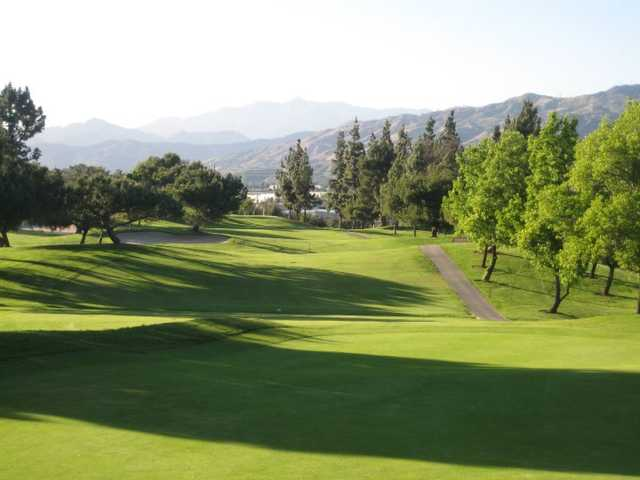 A view of the 18th hole at Mountain Meadows Golf Course.