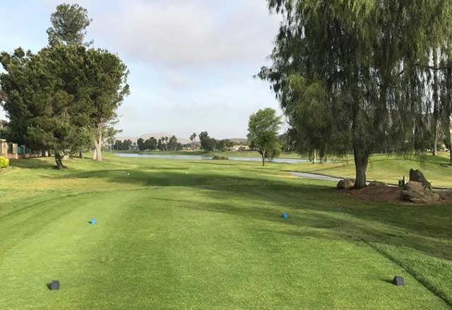 A view from tee #1 at The Palms Golf Course from Menifee Lakes Country Club.