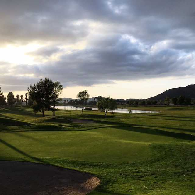 A sunny day view from Menifee Lakes Country Club.