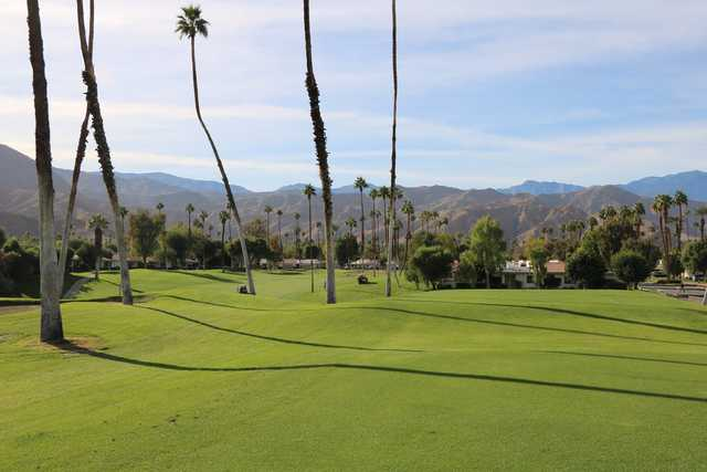 A sunny day view from Omni Rancho Las Palmas Resort.