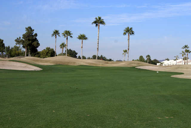 A view of the 18th green at Vistas Course from Westbrook Village Golf Club.