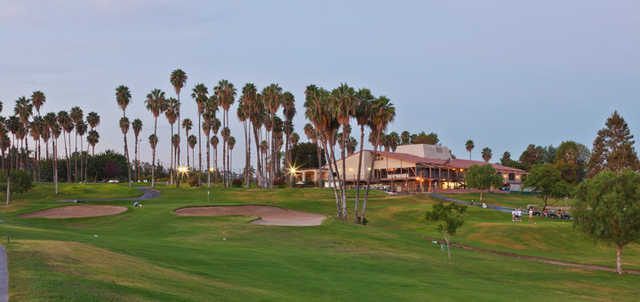 A view of the 9th hole and the clubhouse at Los Angeles Royal Vista Golf Club.