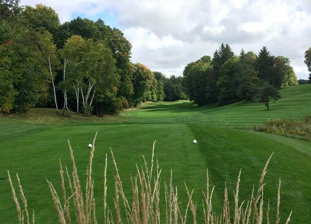 A view of a tee at Pheasant Run Golf Club.