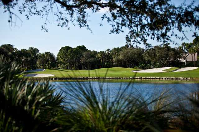A view over the water of a hole at Addison Reserve Country Club.