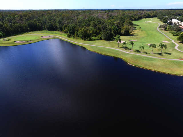 Aerial view of the 2nd and 3rd green from Crescent Oaks Country Club.