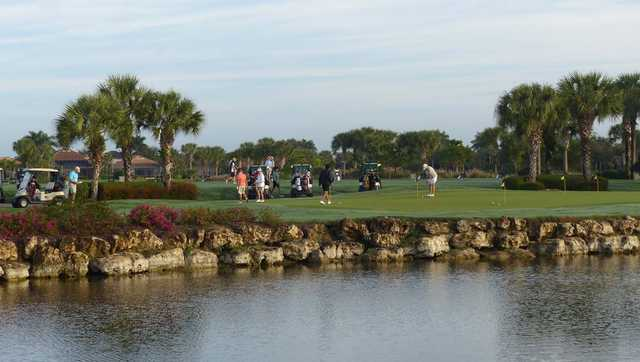 A view of the practice putting green at Copperleaf Golf Club.