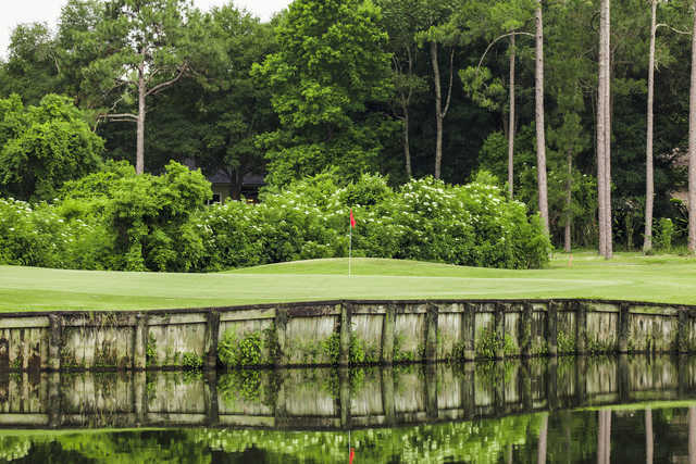 A view over the water of a hole at Magnolia Point Golf & Country Club.