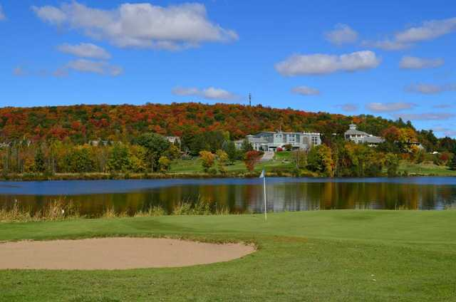 A view of hole #2 at Deerhurst Lakeside from Deerhurst Highlands Golf Course.