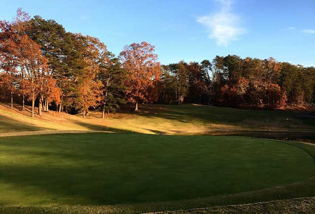 A fall day view of a hole at Gatlinburg Golf Course.