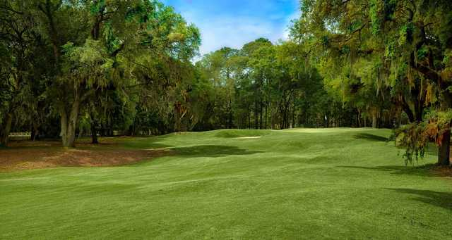 A sunny day view of a hole at Palmetto Hall Plantation.