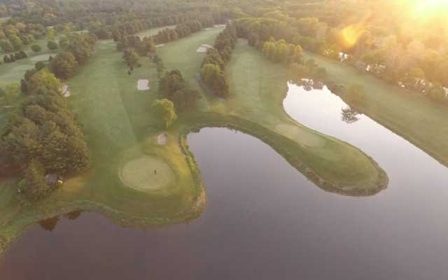 Aerial view of the 7th and 12th greens at Tunxis Country Club White Course