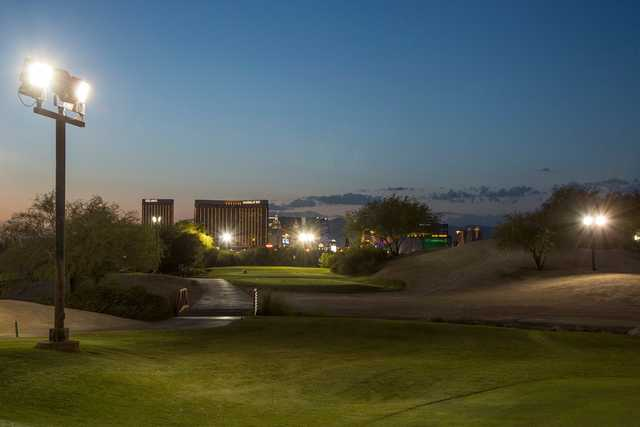 A view of a tee at Las Vegas Golf Center.