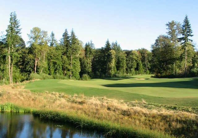 A view of the 4th hole at Coal Creek Course from the Golf Club At Newcastle.