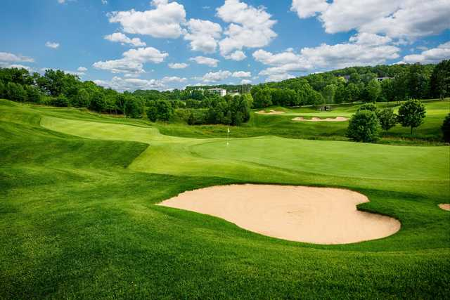 A view of two greens at Thousand Hills Resort & Golf Club.