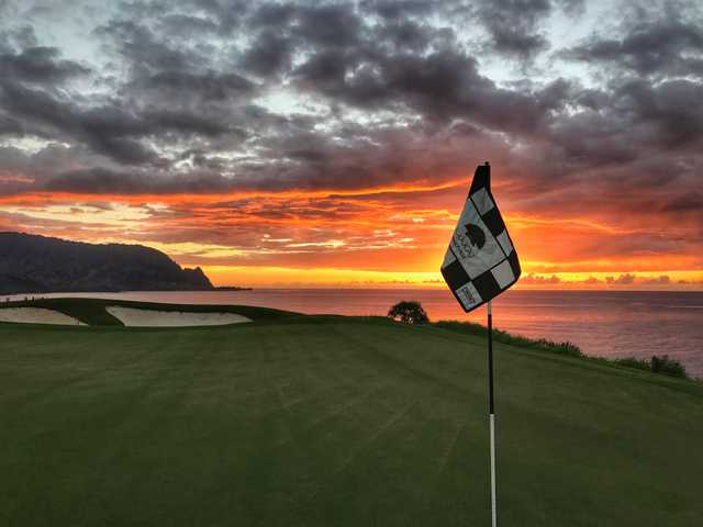 Sunset view from a green at Princeville Makai Golf Club - Makai Course