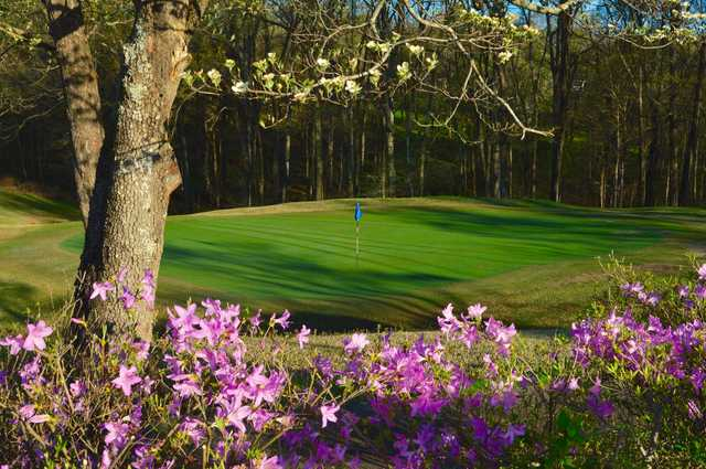 A splendid spring day view of a green at Clarksville Country Club.