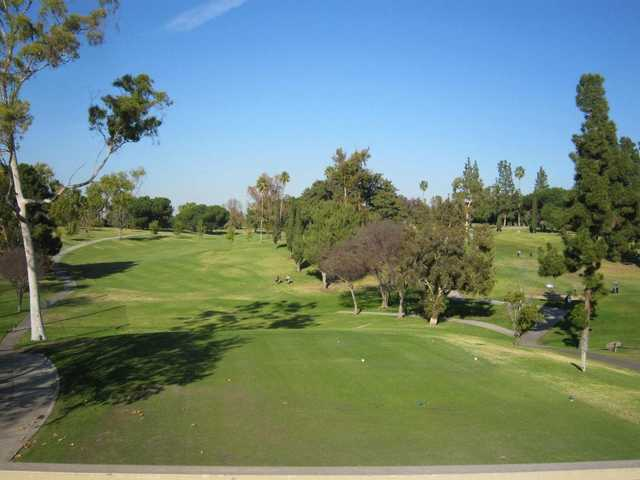 A view of a tee at La Mirada Golf Club.