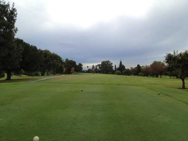 A cloudy day view from a tee at La Mirada Golf Club.