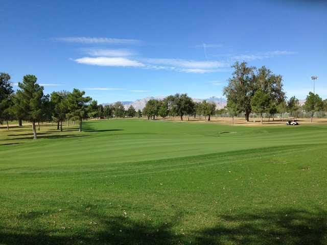 A sunny day view of a fairway at Las Vegas Golf Club.