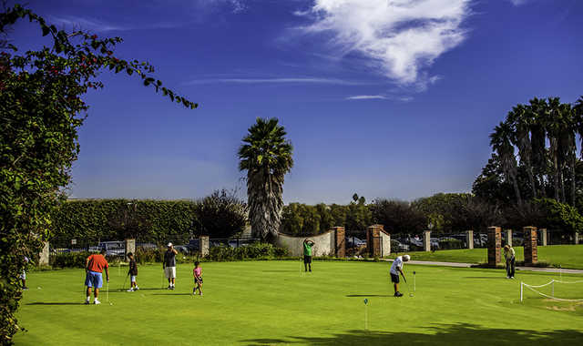 A view of the practice putting green at Harbor Park Golf Course.
