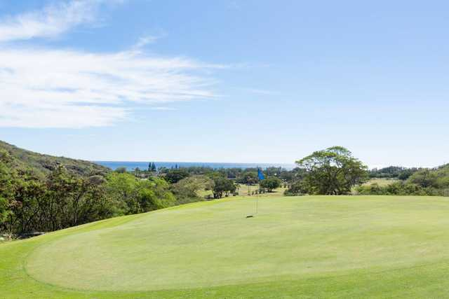 A sunny day view of a hole at Hawaii Kai Golf Course.