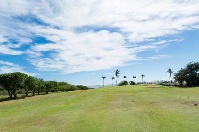 A view of a hole flanked by bunkers at Hawaii Kai Golf Course.