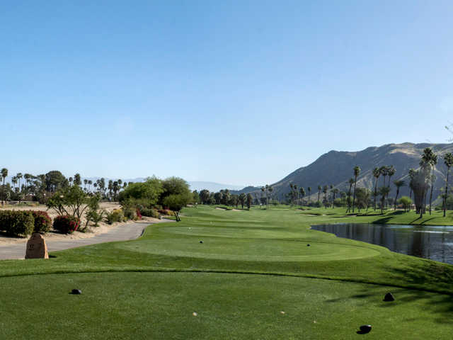 A view from the 17th tee at South Course from Indian Canyons Golf Resort.