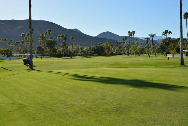 A view from the 17th tee at North Course from Indian Canyons Golf Resort.