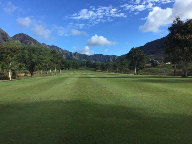 A morning day view of a fairway at Makaha Valley Country Club.