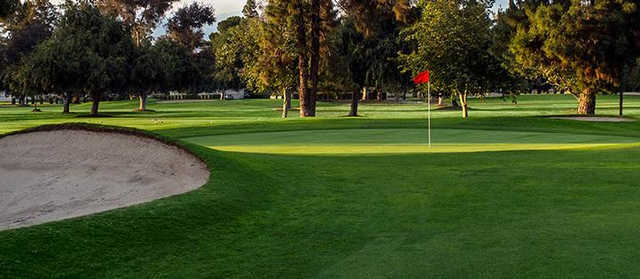 A view of a hole at Whittier Narrows Golf Course.