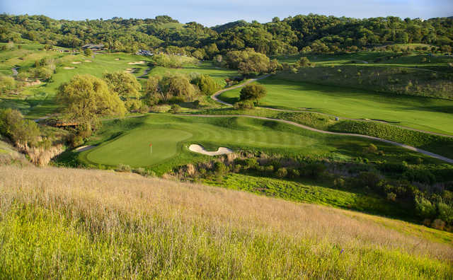 A view of a well protected hole at Lake at Cinnabar Hills Golf Club.