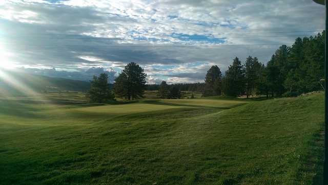 A sunny day view from Shining Mountain Golf Club.