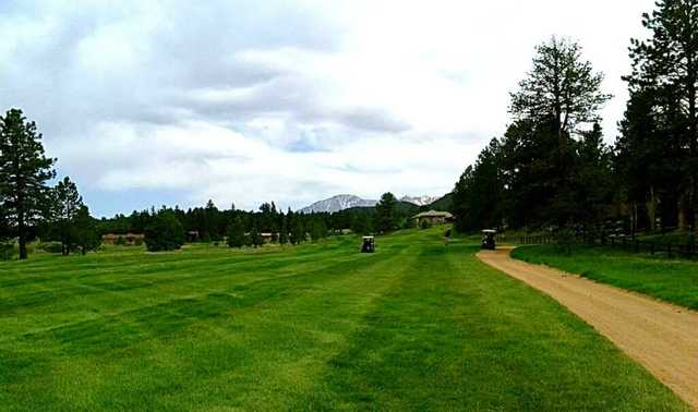 A view of a fairway at Shining Mountain Golf Club.