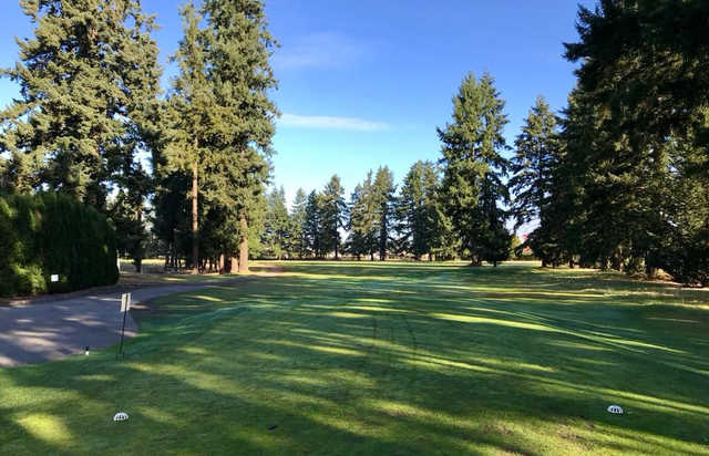 A view from a tee at Lake Spanaway Golf Course.