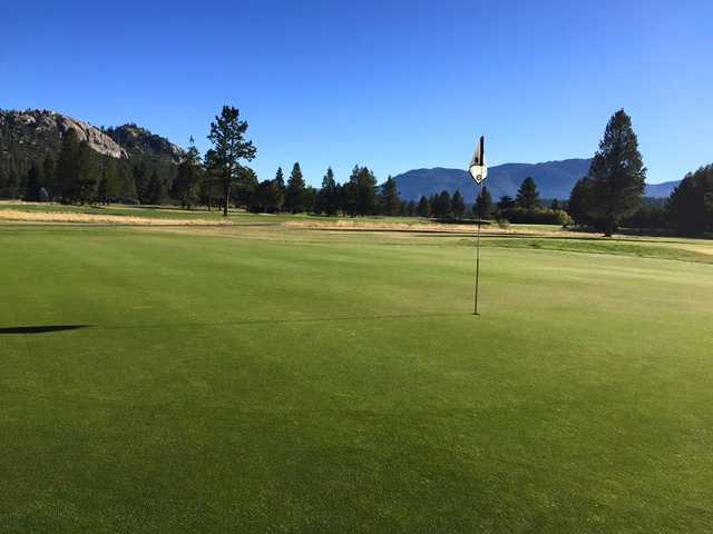 A view of a green at Lake Tahoe Golf Course.