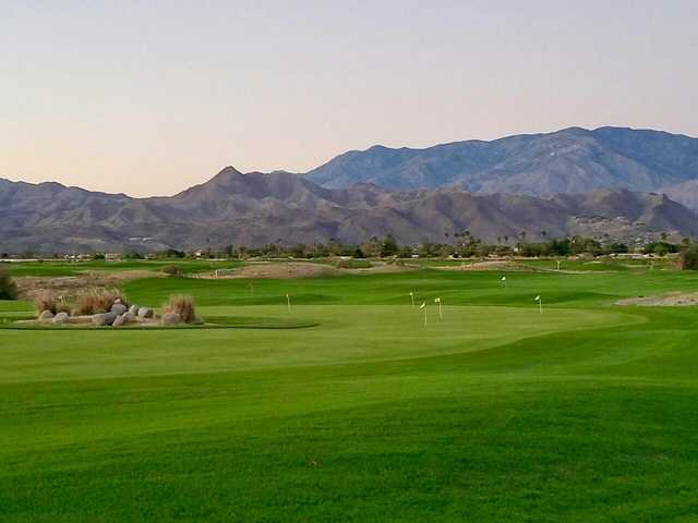 A view of the practice area at Cimarron Golf Club.