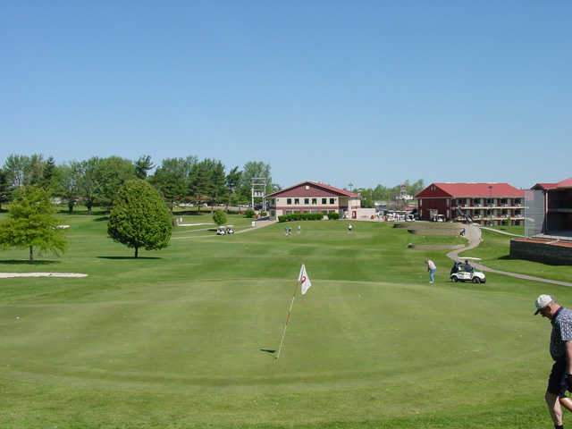 A view of green #1 with the 18th in background at Eighteen Hole from Bright Leaf Golf Resort