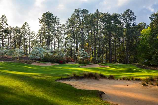 A view of a well guarded green at Pine Needles Resort & Golf Club.