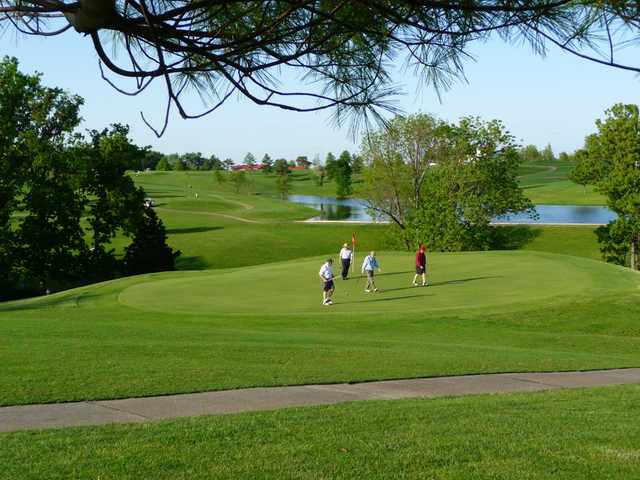 A view of the 15th green at Eighteen Hole from Bright Leaf Golf Resort