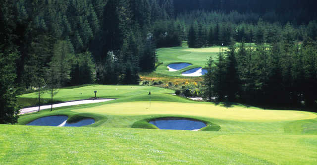 A view of a hole at Trophy Lake Golf & Casting Club.