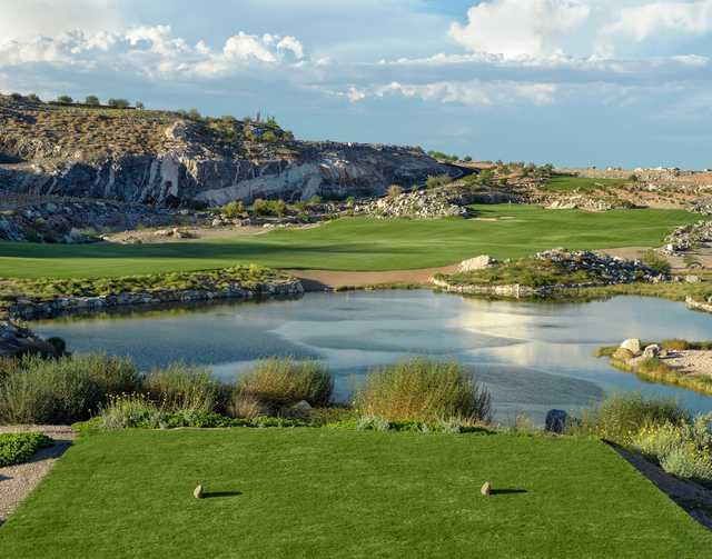 A view over the water from a tee at Victory Course from Verrado Golf Club.