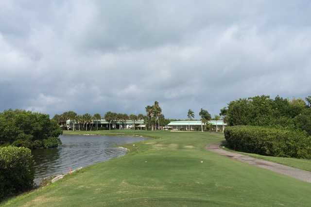 A view from a tee at Lake Venice Golf Club.