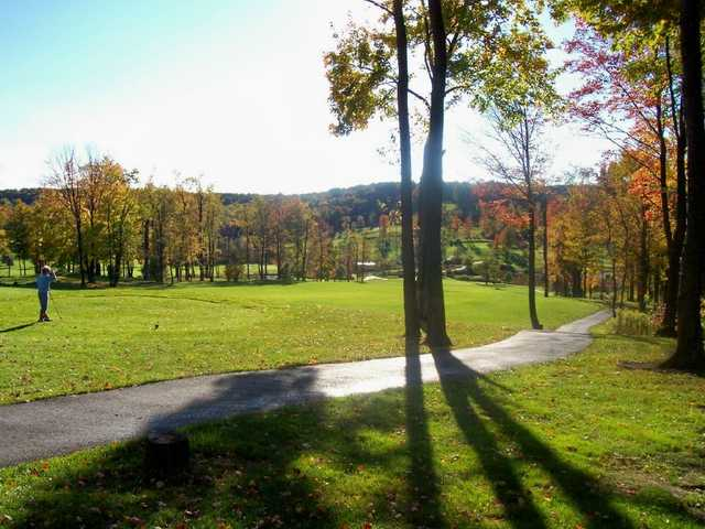 A fall day view of a tee at Bavarian Hills Golf Course.