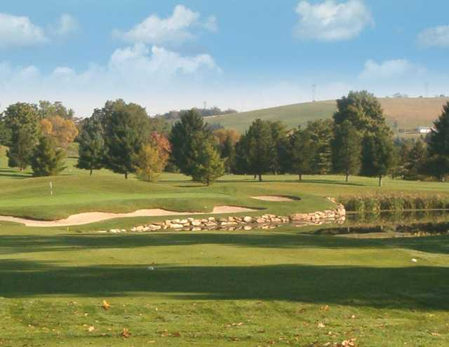 A view from a tee at Chestnut Ridge Golf Resort & Conference Center.