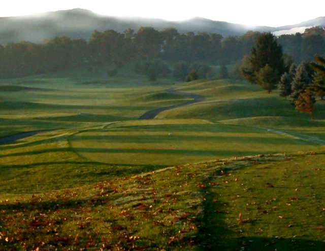A morning day view from a tee at Tom's Run from Chestnut Ridge Golf Resort & Conference Center.